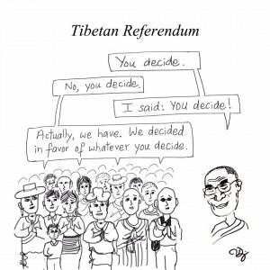 Comic drawn by Tendor, a prominent Free Tibet activist