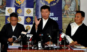 The President of the Central Tibetan Administration (CTA), Lobsang Sangay (center) is addressing media persons during a press conference at Dharamsala on Wednesday,March 28, 2018