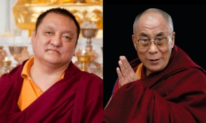 (Left) His Eminence the 14th Kunzig Shamar Rinpoche (Shamarpa); (Right) His Holiness the 14th Dalai Lama.