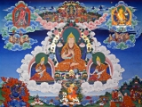 Tsongkhapa with disciples and Dorje Shugden.