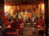 Monks in Tashi Lhunpo Monastery doing puja