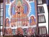 A massive thangka in Jampa Ling, Tibet. On the bottom right is Dorje Shugden as a Dharma Protector