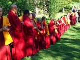 Zawa Tulku Rinpoche and many sangha members