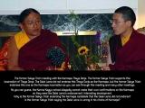 The former Sakya Trizin meeting with the Karmapa Thaye Dorje. The former Sakya Trizin supports this incarnation of Thaye Dorje. The Dalai Lama did not endorse this Thaye Dorje as the Karmapa, but the former Sakya Trizin endorses this one as the Karmapa incarnation as you can see through this meeting and many other meetings.<br/><br/>As you can guess, the Karma Kagyu school allegedly cannot make their own confirmations on the Karmapa so they need the Dalai Lama's endorsement. Interesting development. Why is the former Sakya Trizin endorsing the Karmapa candidate that the Dalai Lama did not endorse? Is the former Sakya Trizin saying the Dalai Lama is wrong in his choice of Karma?<br/><br/>དཔལ་ས་སྐྱ་ཁྲི་འཛིན་གོང་མ་དང་ཀརྨ་པ་མཐའ་ཡས་རྡོ་རྗེ་རྣམ་གཉིས་ཐུག་འཕྲད་གནང་པ། སྤྲུལ་སྐུ་མཐའ་ཡས་རྡོ་རྗེ་མཆོག་ལ་དཔལ་ས་སྐྱ་ཁྲི་འཛིན་གོང་མས་རྒྱབ་གནོན་རོགས་རམ་བྱིན། ༧གོང་ས་མཆོག་གིས་སྤྲུལ་སྐུ་མཐའ་ཡས་རྡོ་རྗེ་མཆོག་ལ་ཀརྨ་པ་ཡིན་པ་ཁས་མི་ལེན་ཀྱང་<br/>དཔལ་ས་སྐྱ་ཁྲི་འཛིན་གོང་མས་མཐའ་ཡས་རྡོ་རྗེ་མཆོག་ཀརྨ་པ་ཡིན་པ་ཞིབ་མཆན་འགོད། དེ་བཞིན་ཁོང་རྣམ་དེ་ལྟར་ཐུག་འཕྲད་སོགས་གནང་པ་ལ་རྟེན་ནས་མོས་མཐུན་རྒྱབ་སྐྱོར་བྱེད་ཀྱི་ཡོད་པ་མཐོང་ཐུབ།<br/><br/>ཁྱོད་ཀྱིས་ཚོད་དཔག་བྱེད་པ་ལྟར། ཀརྨ་བཀའ་བརྒྱུད་པ་སོ་སོའི་རང་འདོད་ཀྱི་ཐོག་ནས་ཀརྨ་པར་ངོས་འཛིན་གཏན་འབེབས་བྱེད་<br/>ཆོག་གི་མིན་འདུག །  ངེས་པར་དུ་༧གོང་ས་མཆོག་གི་གནང་བ་ཞུ་དགོས་འདུག །<br/>ལམ་ལུགས་ཡར་རྒྱས་འགྲོ་འདུག ། ༧གོང་ས་མཆོག་གིས་ཀརྨ་པ་མོས་མཐུན་མ་གནང་པ་ཞིག་ལ་དཔལ་ས་སྐྱ་གོང་མས་གང་འདྲ་<br/>མོས་མཐུན་གནང་བ་ཡིན་ནམ། དཔལ་ས་སྐྱ་གོང་མས་ཀརྨ་པ་འདམ་ག་བྱེད་པའི་དོན་དེ་༧གོང་ས་མཆོག་གིས་འདམ་ག་བྱེད་<br/>པར་ནོར་གྱི་རེད་ཞེས་པའི་དོན་ཡིན་ནམ།