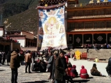 Large thangka of Tsongkhapa displayed at Sampheling Monastery. It is a tradition of Sampheling Monastery to organize this festival annually during Losar/ Tibetan new year for the members of the public to pay homage and show their reverence to the Buddhas.