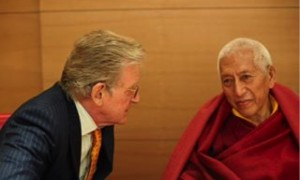 The Dalai Lama with Thupten Jinpa by his side translating