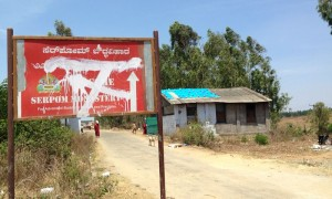 Serpom Monastery signboard vandalized by the local people, with the sole reason of preventing others from finding or going to the monastery