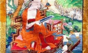 Traditional depiction of Arya Nagarjuna with the parasol of nagas over him and a naga below offering the Perfection of Wisdom Sutra