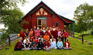 H.H. Trijang Choktrul Rinpoche with some of the resident monks, administrators and students of TBI. Photo courtesy of www.tbiusa.org