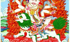 A thangka representation of Nechung Pehar