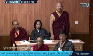 A Member of Parliament questions the validity and reliance of Nechung during Day 2 of the 2nd Session of the 16th Tibetan Parliament in Exile Proceedings.
