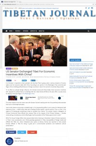 US Senator Exchanged Tibet for Economic Incentives with China?
