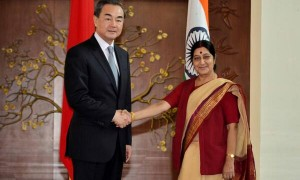 India's Minister of External Affairs Sushma Swaraj (right) and her Chinese counterpart, State Councilor Wang Yi (left).